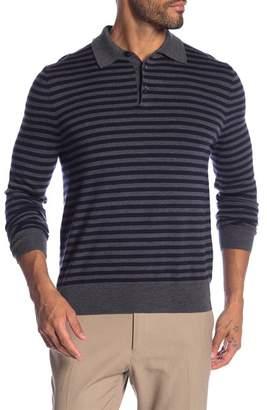 Brooks Brothers Stripe Merino Wool Long Sleeve Polo