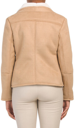 Juniors Faux Suede Bonded Shearling Jacket