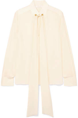 Chloé Pussy-bow Silk Crepe De Chine Blouse - Cream