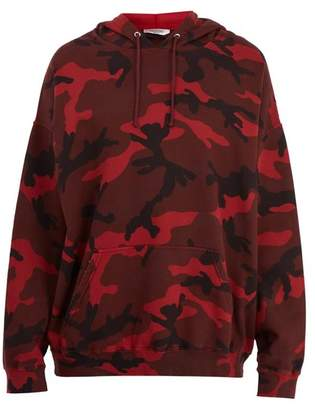 Valentino Camouflage Print Cotton Blend Hooded Sweatshirt - Mens - Red
