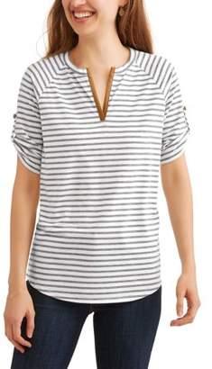 Ace + Ally Women's 3/4 Sleeve Striped Henley T-Shirt