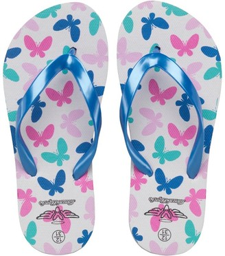 Board Angels Girls Butterfly Print Flip Flops White/Blue
