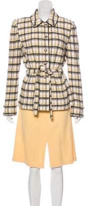 St. John Plaid Knit Skirt Set