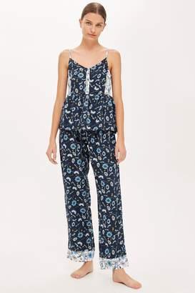 Topshop Blue Floral Pyjama Trousers