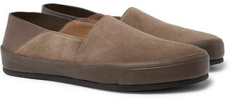 Brioni Collapsible-Heel Suede And Textured-Leather Loafers