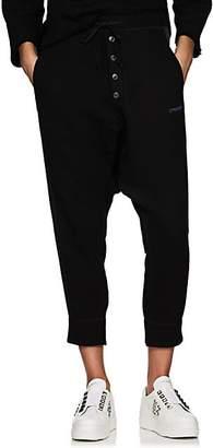 Yohji Yamamoto Regulation Women's Cotton Drop-Rise Crop Jogger Pants - Black