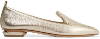 Nicholas Kirkwood Beya Metallic Textured-leather Point-toe Flats - Gold