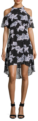 Off Shoulder Pleated High Low Dress $158 thestylecure.com