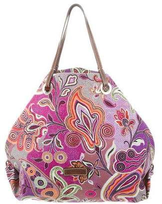 Etro Leather-Trimmed Canvas Tote