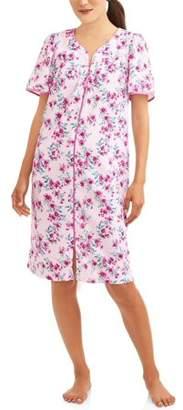 Secret Treasures Women's and Women's Plus Short Sleeve Zip Front Waffle Knit Breakfast Gown