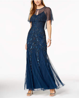 Adrianna Papell Beaded Gown & Capelet