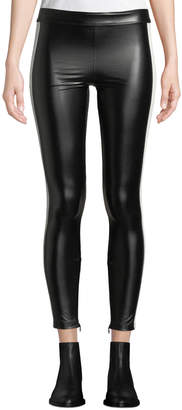 David Lerner Tuxedo Side-Striped Vegan Leather Leggings