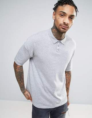 Asos Knitted Relaxed Fit Polo Shirt In Grey