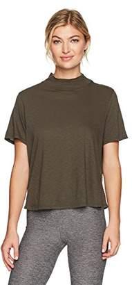 Michael Stars Women's Supima Cotton Slub Mock Neck Crop T-Shirt