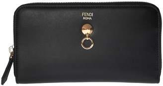 Fendi Logo Embossed Zip Around Wallet