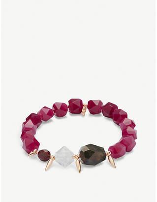Kendra Scott Sadie 14ct rose gold-plated and maroon jade bracelet