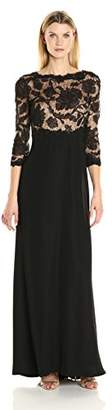 Tadashi Shoji Women's 3/4 Sleeve Embroidered Lace Gown, Black/Nude