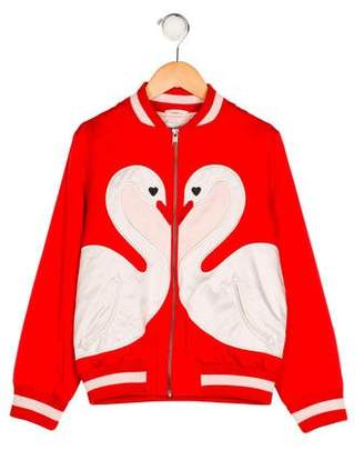 Stella McCartney Girls' Willow Swan Bomber Jacket