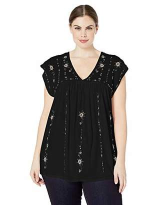 Lucky Brand Women's Plus Size Shoulder Embroidered TOP
