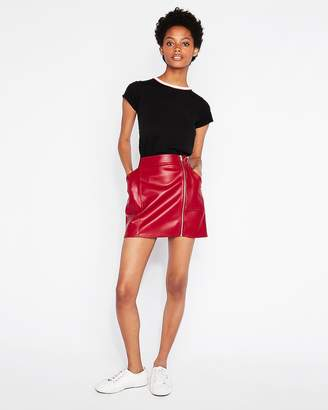 Express High Waisted (Minus The) Leather Zip Mini Skirt