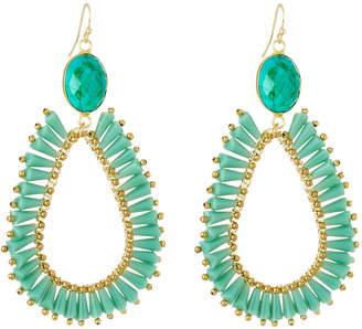 Panacea Crystal Teardrop Earrings, Green