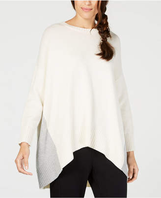 Eileen Fisher Recycled Cashmere Colorblocked Handkerchief-Hem Sweater