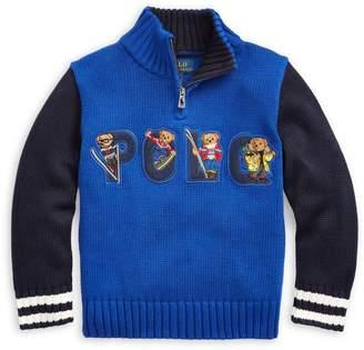Ralph Lauren Childrenswear Little Boy's Logo Cotton Sweater