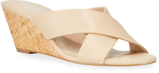Charles by Charles David Grady Leather Cork Wedge Slide Sandals