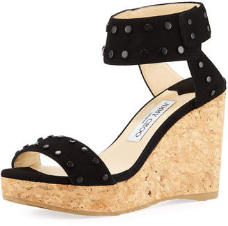 Jimmy Choo Nelly 100mm Studded Suede Cork Platform Wedge Sandals