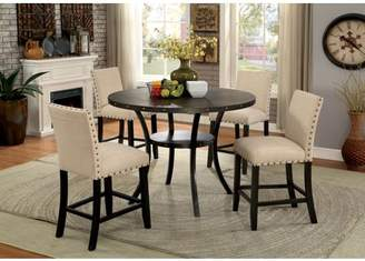 Furniture of America Gabriel 5 Piece Rustic Round Counter Height Table Set, Light Walnut