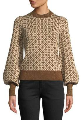 Co Crewneck Blouson-Sleeve Jacquard Knit Pullover Sweater