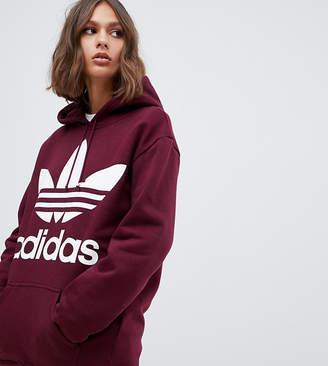adidas oversized trefoil logo hoody in burgundy