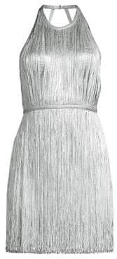 Herve Leger Women's Foil Fringe Mini Dress - Silver Foil - Size Large
