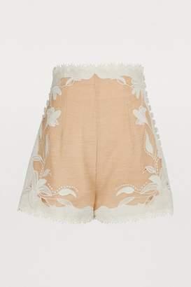 Zimmermann Corsage linen and silk shorts