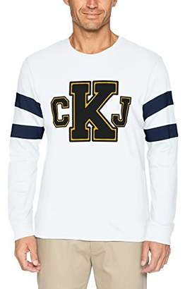 Calvin Klein Jeans Men's Long T-Shirt CKJ Logo with Sleeve Stripe