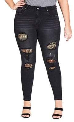 City Chic Plus Fishnet Ripped Skinny Jeans