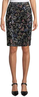 Badgley Mischka Double-Vented Sequin Floral Skirt