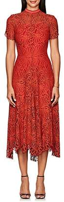Proenza Schouler Women's Floral Lace Midi-Dress - Orange