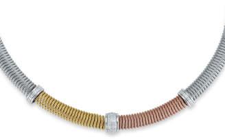 Alor Tricolor Coil Cable Diamond Necklace