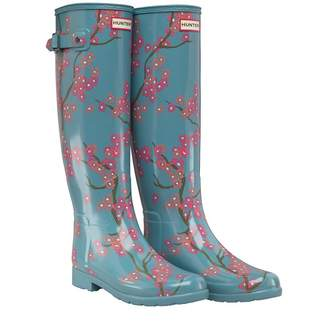 Hunter Womens Refined Blossom Print Tall Wellington Boots Soft Pine Floral