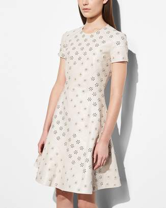 Coach Circle Leather Dress With Whipstitch Eyelet