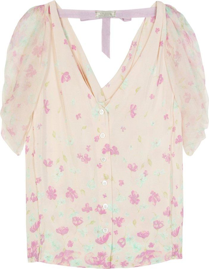Nina Ricci Floral Print Silk Blouse