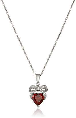 Sterling Garnet and Diamond Accent Bow Heart Pendant Necklace
