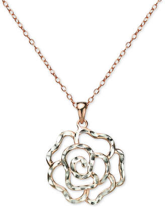 "Giani Bernini Openwork Rose 18"" Pendant Necklace in Sterling Silver & 18k Rose Gold-Plated Sterling Silver, Created for Macy's"