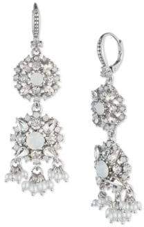 Marchesa Faux Pearl and Crystal Double Drop Earrings