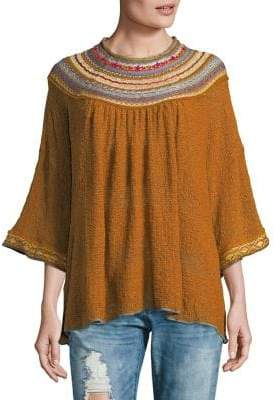 Free People Embroidered Pullover Sweater
