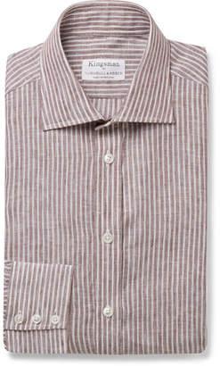 Kingsman + Turnbull & Asser Brown Striped Cutaway-Collar Cotton Shirt