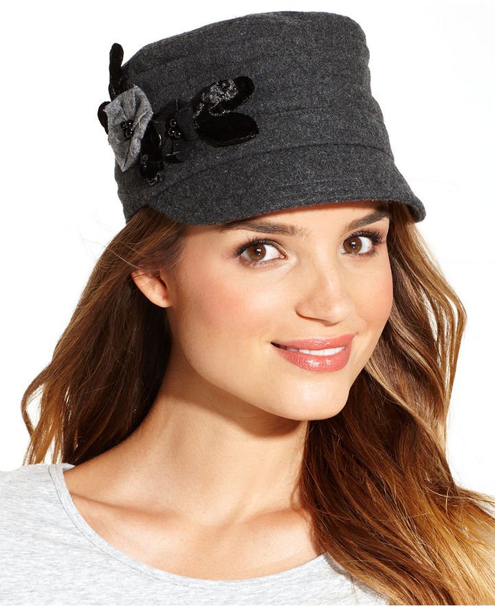 Nine West Wool Blend Pleated Worker with Flowers Hat