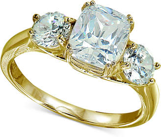 Giani Bernini Cubic Zirconia Triple Stone Statement Ring in 18k Gold-Plated Sterling Silver