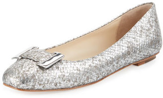 Delman Froth Snake-Embossed Buckle Flat, Silver $228 thestylecure.com